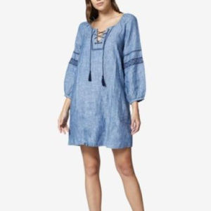 Sanctuary Women's Blue Chambray Embroidered Dress